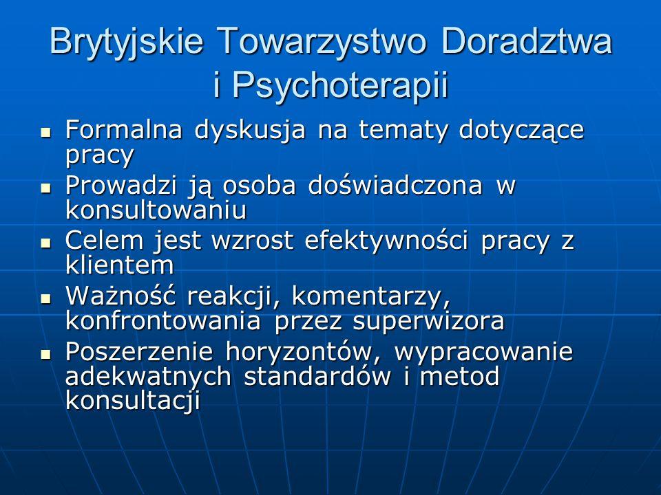Brytyjskie Towarzystwo Doradztwa i Psychoterapii Formalna dyskusja na tematy dotyczące pracy Formalna dyskusja na tematy dotyczące pracy Prowadzi ją o