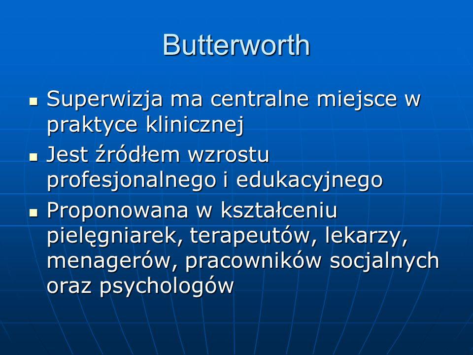 Butterworth Superwizja ma centralne miejsce w praktyce klinicznej Superwizja ma centralne miejsce w praktyce klinicznej Jest źródłem wzrostu profesjon