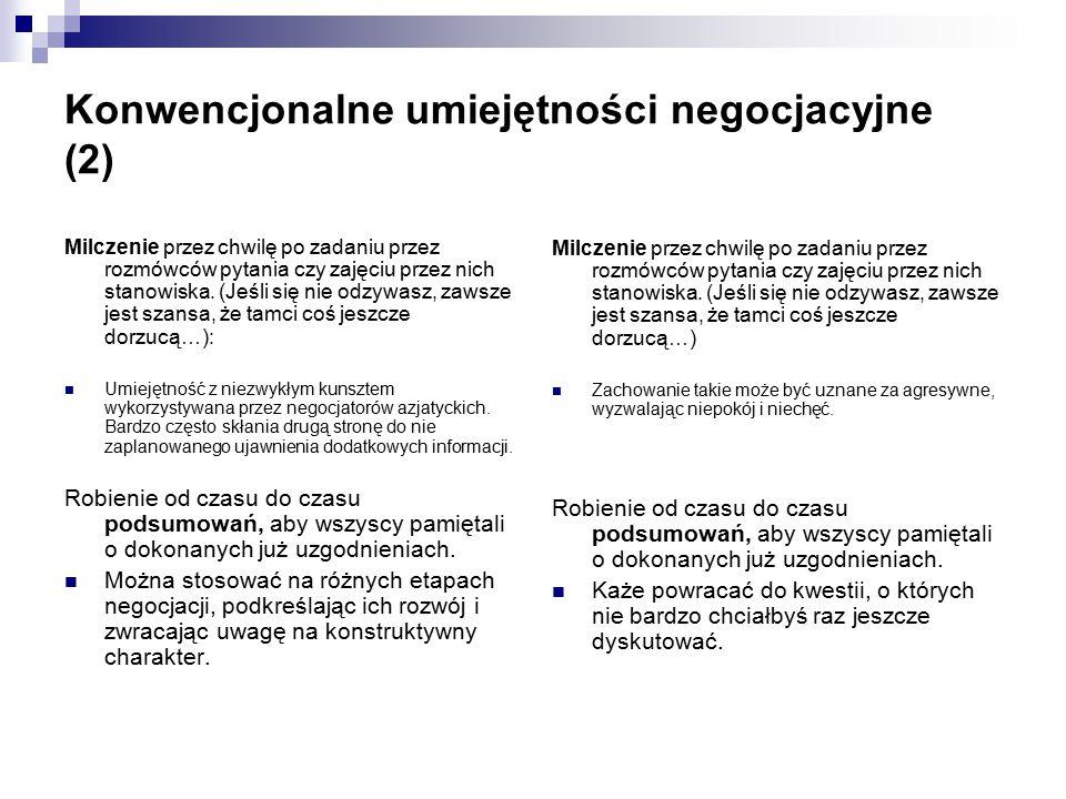 Konwencjonalne umiejętności negocjacyjne (2) Milczenie przez chwilę po zadaniu przez rozmówców pytania czy zajęciu przez nich stanowiska.