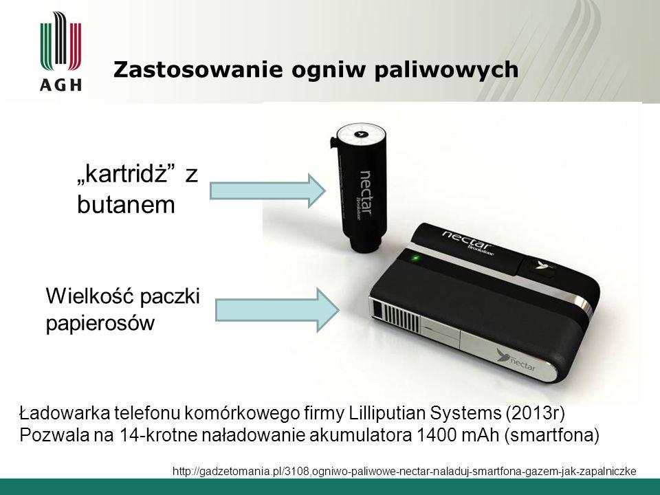 Zastosowanie ogniw paliwowych Ładowarka telefonu komórkowego firmy Lilliputian Systems (2013r) Pozwala na 14-krotne naładowanie akumulatora 1400 mAh (