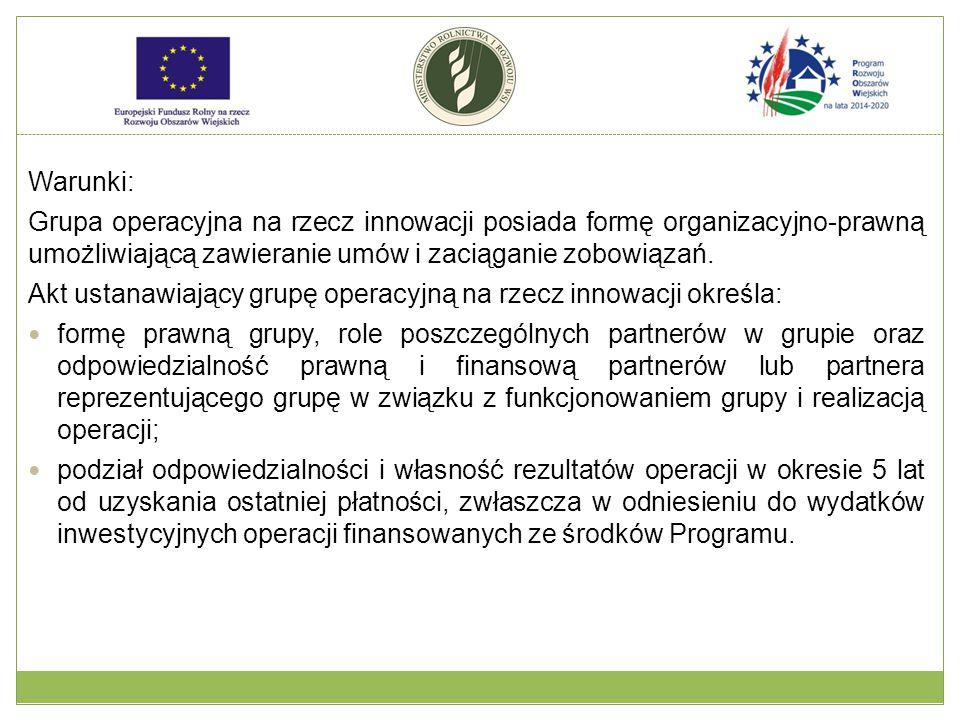 Warunki: Grupa operacyjna na rzecz innowacji posiada formę organizacyjno-prawną umożliwiającą zawieranie umów i zaciąganie zobowiązań. Akt ustanawiają