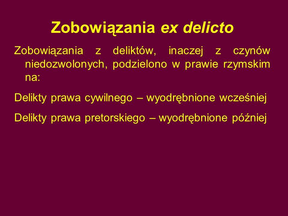 Zobowiązania ex delicto Zobowiązania z deliktów, inaczej z czynów niedozwolonych, podzielono w prawie rzymskim na: Delikty prawa cywilnego – wyodrębni