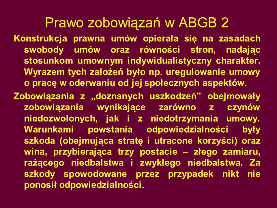 Prawo zobowiązań w ABGB 2 Konstrukcja prawna umów opierała się na zasadach swobody umów oraz równości stron, nadając stosunkom umownym indywidualistyc