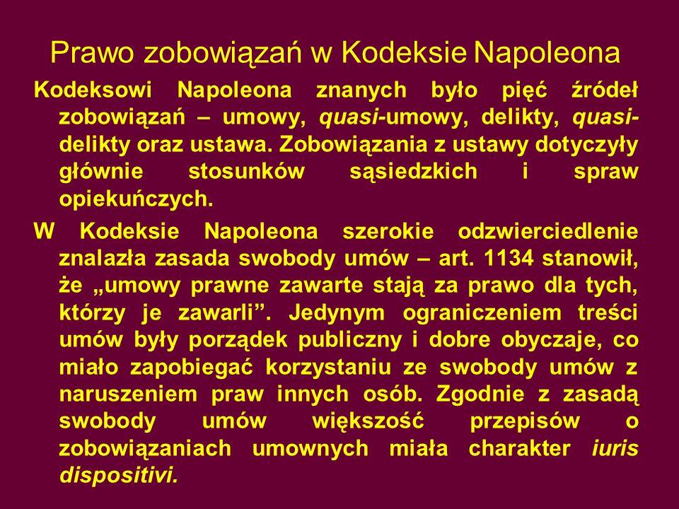 Prawo zobowiązań w Kodeksie Napoleona Kodeksowi Napoleona znanych było pięć źródeł zobowiązań – umowy, quasi-umowy, delikty, quasi- delikty oraz ustaw