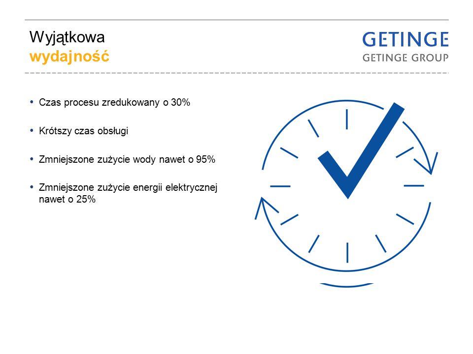 Wyjątkowa wydajność Czas procesu zredukowany o 30% Krótszy czas obsługi Zmniejszone zużycie wody nawet o 95% Zmniejszone zużycie energii elektrycznej