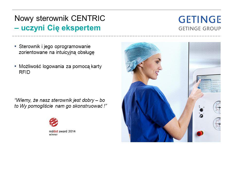 Sterownik przyjazny użytkownikowi Jasna i przejrzysta informacja wraz z kolorami określającymi status Wspierając wydajność zapewnia właściwą informację we właściwym czasie Konstrukcja gwarantująca mniej stresu w środowisku pracy Ujednolicony sterownik dla wszystkich urządzeń Getinge posiadających sterownik CENTRIC