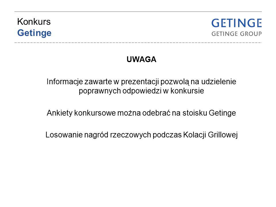 Konkurs Getinge UWAGA Informacje zawarte w prezentacji pozwolą na udzielenie poprawnych odpowiedzi w konkursie Ankiety konkursowe można odebrać na sto