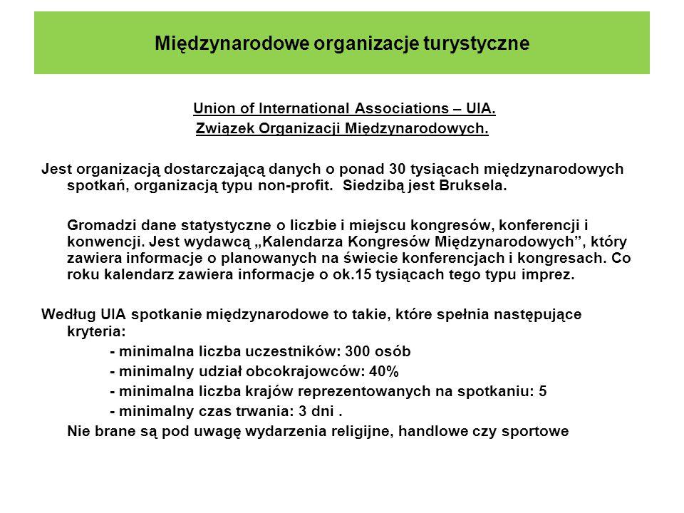 Międzynarodowe organizacje turystyczne Union of International Associations – UIA. Związek Organizacji Międzynarodowych. Jest organizacją dostarczającą