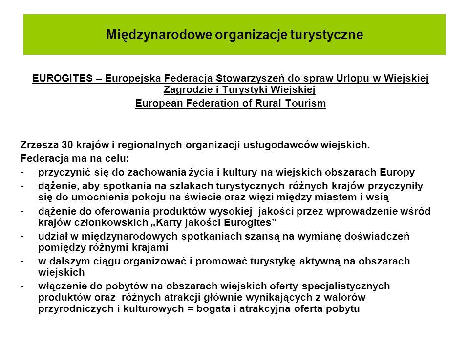 Międzynarodowe organizacje turystyczne EUROGITES – Europejska Federacja Stowarzyszeń do spraw Urlopu w Wiejskiej Zagrodzie i Turystyki Wiejskiej Europ