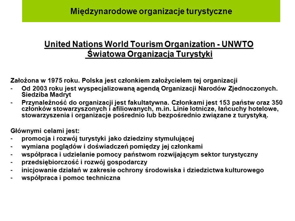 Międzynarodowe organizacje turystyczne Europejska Komisja Turystyki – European Travel Commission - ETC Najważniejsze cele: -promocja turystyczna Europy na innych kontynentach -popieranie współpracy europejskiej w zakresie turystyki międzynarodowej -ułatwianie wymiany informacji -prowadzi badania ruchu turystycznego w Europie -opracowuje raporty, prezentuje dane statystyczne oraz publikuje wyniki -rozpoznawanie potrzeb i koniecznych nakładów inwestycyjnych dla bazy turystycznej w każdym z krajów członkowskich -działalność promocyjna, branżowa Eurostat jest to organizacja, która działa przy Unii Europejskiej.