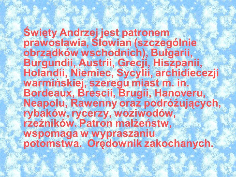 Święty Andrzej jest patronem prawosławia, Słowian (szczególnie obrządków wschodnich), Bułgarii, Burgundii, Austrii, Grecji, Hiszpanii, Holandii, Niemiec, Sycylii, archidiecezji warmińskiej, szeregu miast m.