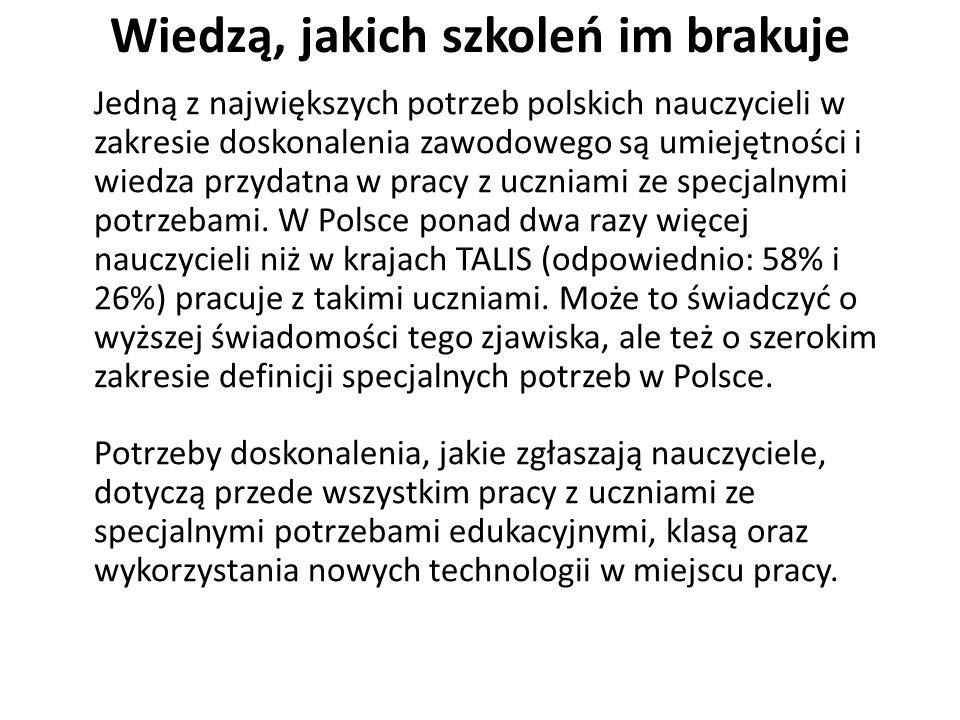Potrzeby szkoleń polskich gimnazjalnych nauczycieli w porównaniu do pozostałych nauczycieli gimnazjalnych w badaniu TALIS W Polsce wzrósł odsetek nauczycieli uczestniczących w różnych formach doskonalenia zawodowego (z 90 do 94%), głównie wybierają przy tym szkolenia z wiedzy przedmiotowej, kompetencji pedagogicznych, pracy z uczniami ze specjalnymi potrzebami edukacyjnymi, oceniania i programu nauczania.