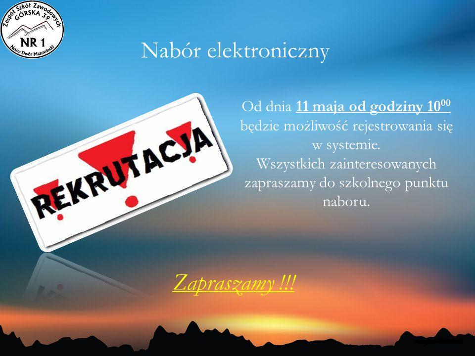 Nabór elektroniczny Od dnia 11 maja od godziny 10 00 będzie możliwość rejestrowania się w systemie. Wszystkich zainteresowanych zapraszamy do szkolneg
