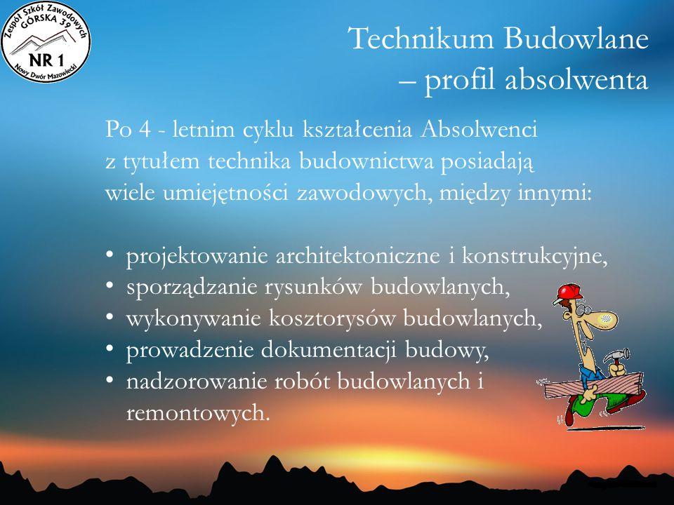 Technikum Budowlane – profil absolwenta Po 4 - letnim cyklu kształcenia Absolwenci z tytułem technika budownictwa posiadają wiele umiejętności zawodow