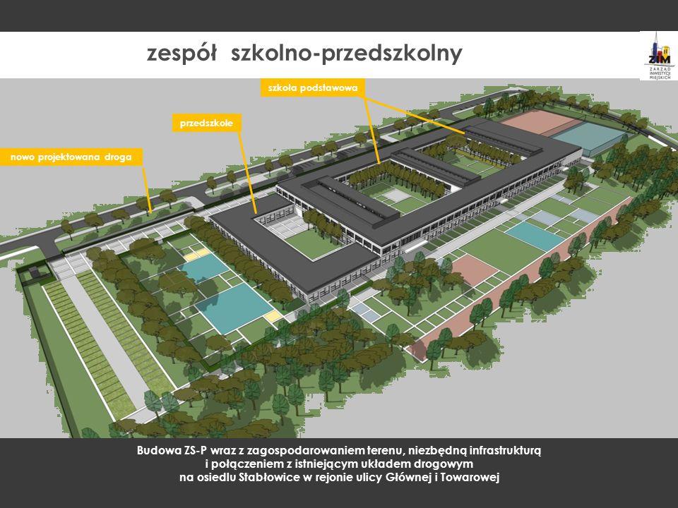 nowo projektowana droga szkoła podstawowa przedszkole Budowa ZS-P wraz z zagospodarowaniem terenu, niezbędną infrastrukturą i połączeniem z istniejący