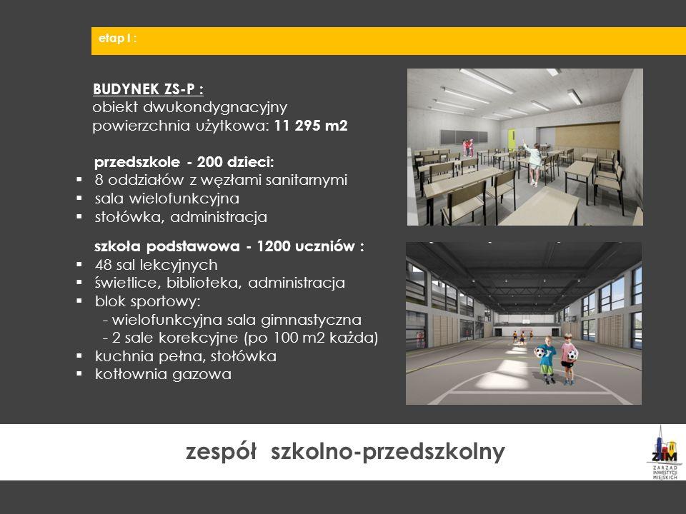 BUDYNEK ZS-P : obiekt dwukondygnacyjny powierzchnia użytkowa: 11 295 m2 przedszkole - 200 dzieci:  8 oddziałów z węzłami sanitarnymi  sala wielofunk