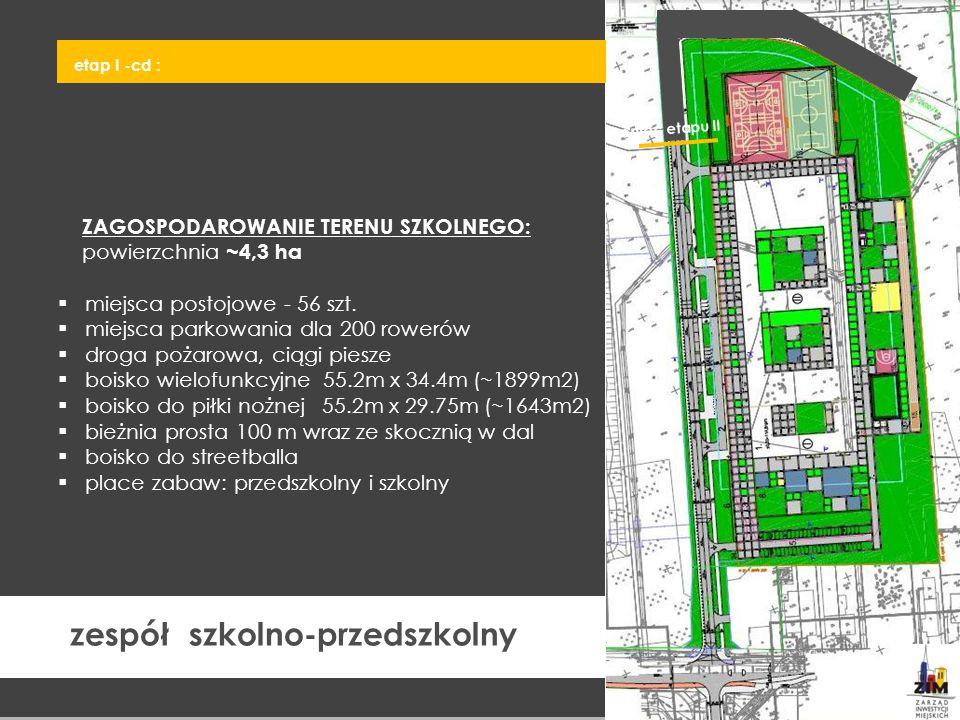 ZAGOSPODAROWANIE TERENU SZKOLNEGO: powierzchnia ~4,3 ha  miejsca postojowe - 56 szt.  miejsca parkowania dla 200 rowerów  droga pożarowa, ciągi pie