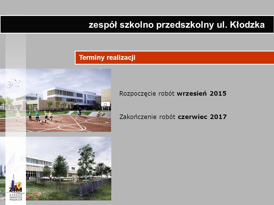 Terminy realizacji Rozpoczęcie robót wrzesień 2015 Zakończenie robót czerwiec 2017 zespół szkolno przedszkolny ul. Kłodzka