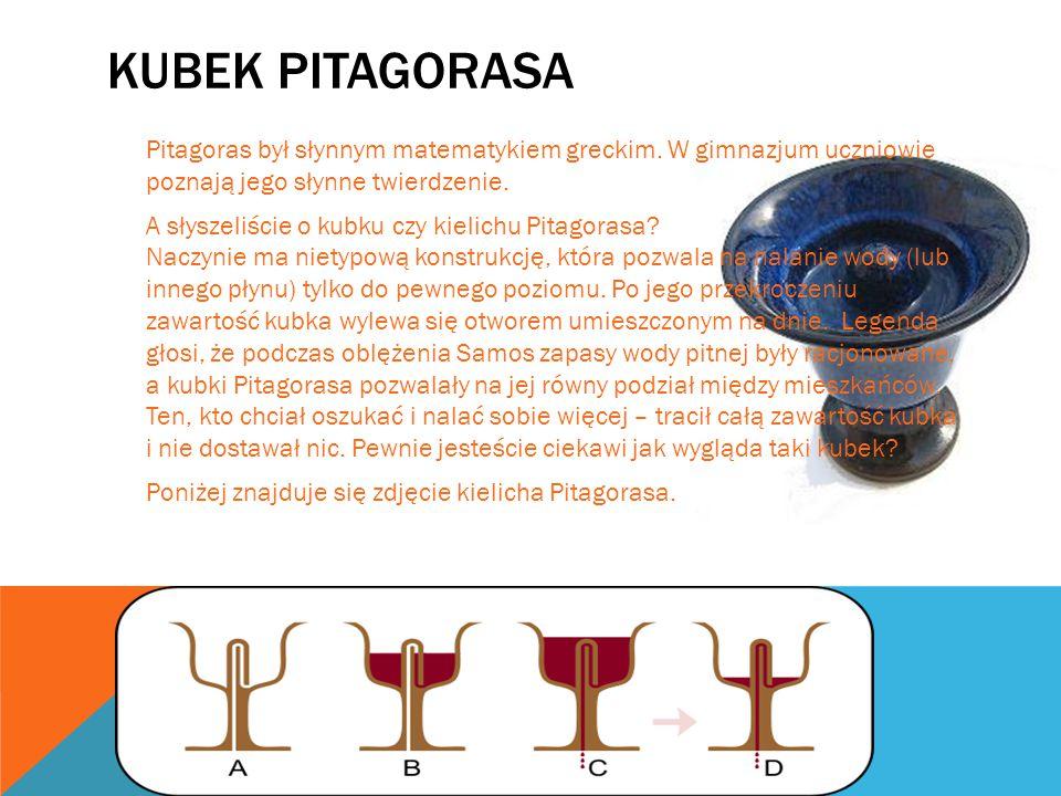 KUBEK PITAGORASA Pitagoras był słynnym matematykiem greckim. W gimnazjum uczniowie poznają jego słynne twierdzenie. A słyszeliście o kubku czy kielich