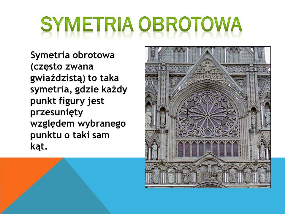 Symetria obrotowa (często zwana gwiaździstą) to taka symetria, gdzie każdy punkt figury jest przesunięty względem wybranego punktu o taki sam kąt.