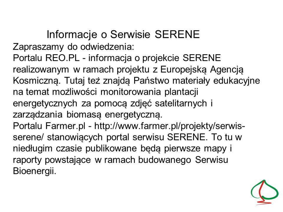 Informacje o Serwisie SERENE Zapraszamy do odwiedzenia: Portalu REO.PL - informacja o projekcie SERENE realizowanym w ramach projektu z Europejska ̨ Agencja ̨ Kosmiczna ̨.