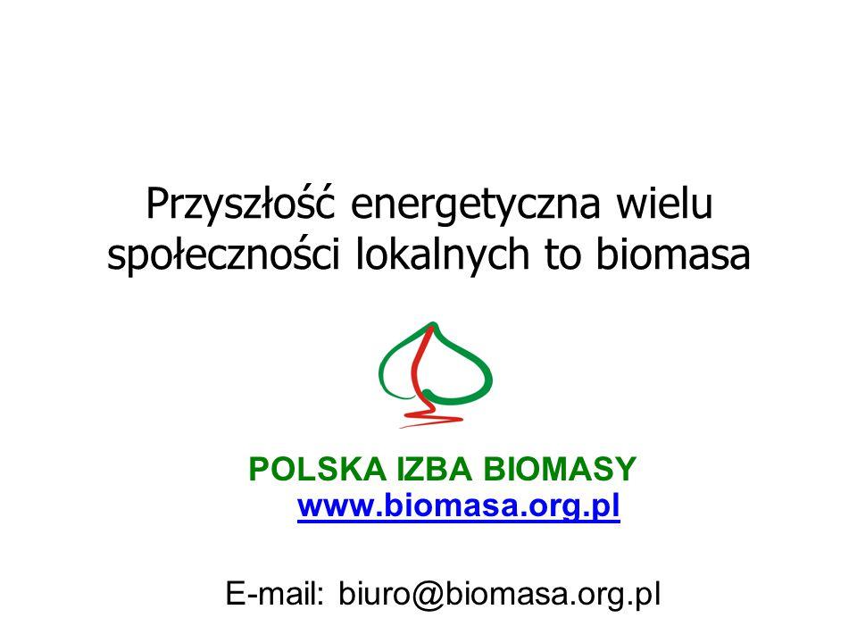 Przyszłość energetyczna wielu społeczności lokalnych to biomasa POLSKA IZBA BIOMASY www.biomasa.org.pl E-mail: biuro@biomasa.org.pl