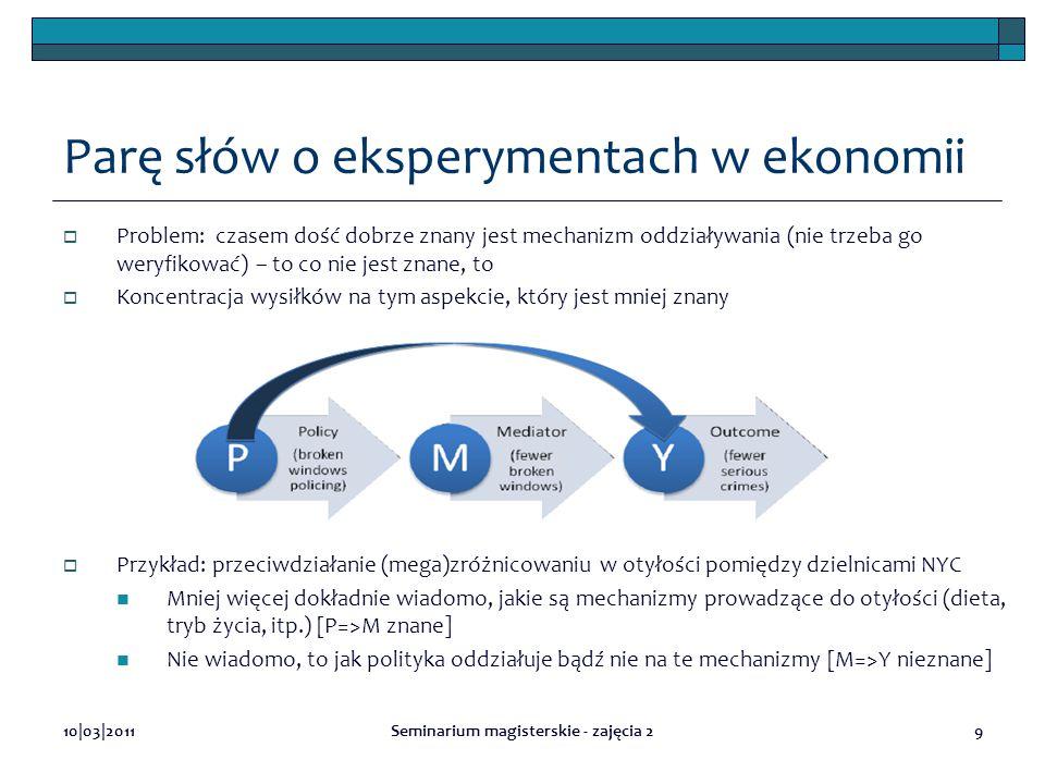 Parę słów o eksperymentach w ekonomii  Problem: czasem dość dobrze znany jest mechanizm oddziaływania (nie trzeba go weryfikować) – to co nie jest zn