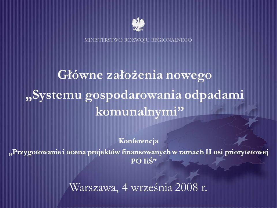 """Główne założenia nowego """"Systemu gospodarowania odpadami komunalnymi Warszawa, 4 września 2008 r."""