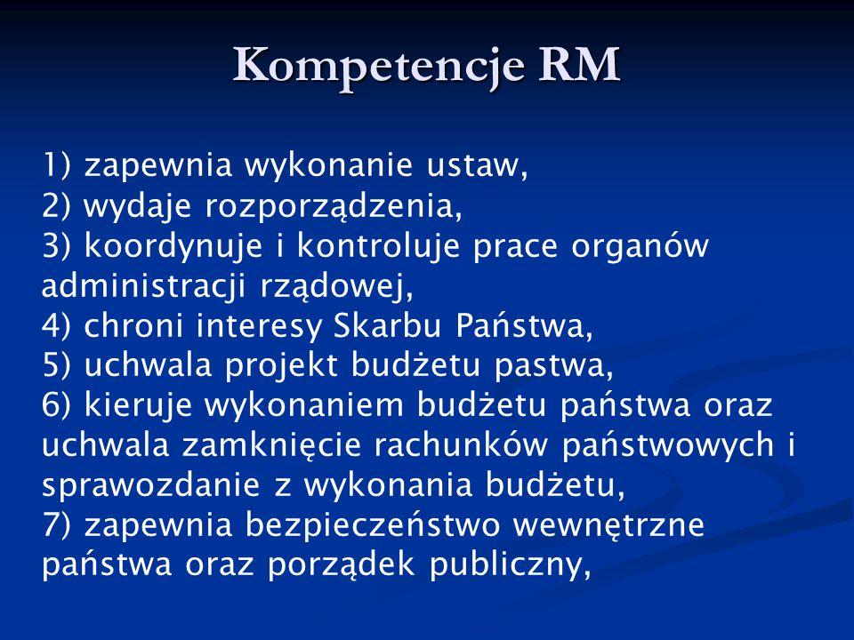 Kompetencje RM 1) zapewnia wykonanie ustaw, 2) wydaje rozporządzenia, 3) koordynuje i kontroluje prace organów administracji rządowej, 4) chroni inter