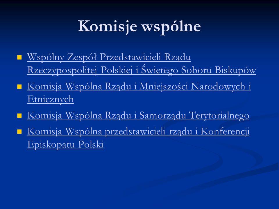 Komisje wspólne Wspólny Zespół Przedstawicieli Rządu Rzeczypospolitej Polskiej i Świętego Soboru Biskupów Wspólny Zespół Przedstawicieli Rządu Rzeczyp
