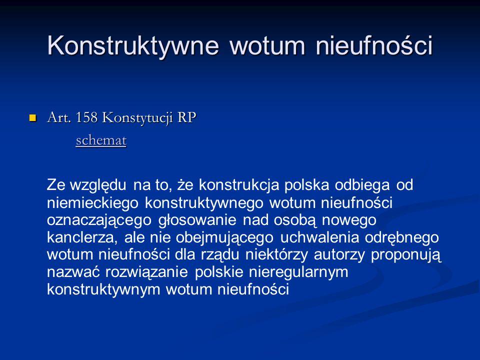 Konstruktywne wotum nieufności Art. 158 Konstytucji RP Art. 158 Konstytucji RP schemat Ze względu na to, że konstrukcja polska odbiega od niemieckiego