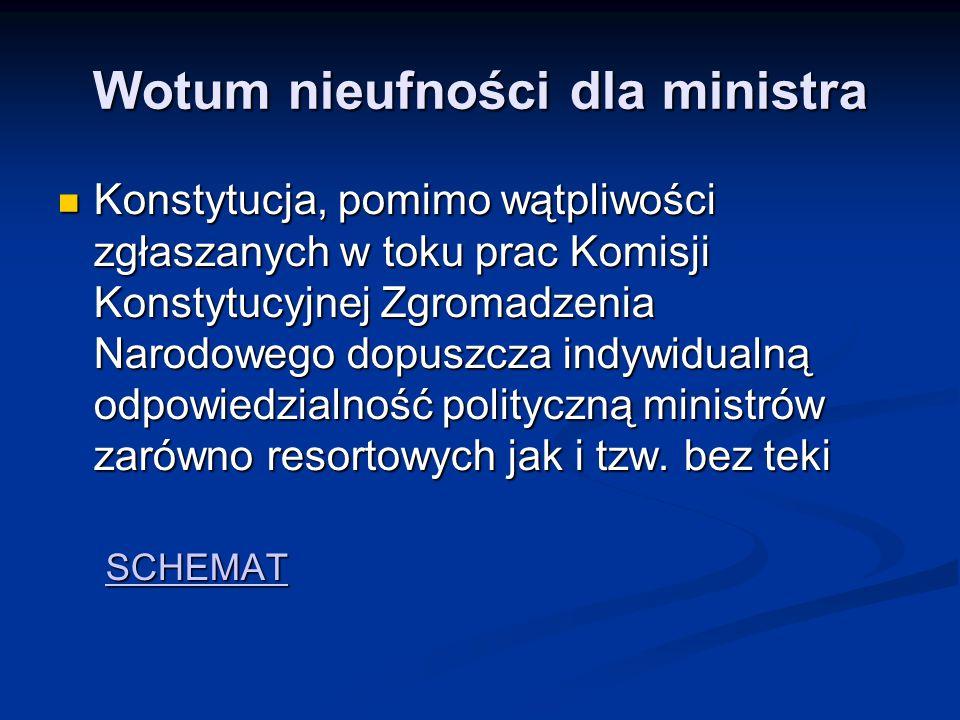 Wotum nieufności dla ministra Konstytucja, pomimo wątpliwości zgłaszanych w toku prac Komisji Konstytucyjnej Zgromadzenia Narodowego dopuszcza indywid