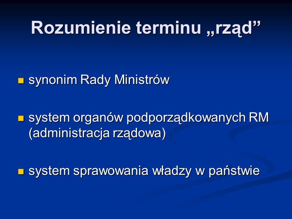 """Rozumienie terminu """"rząd"""" synonim Rady Ministrów synonim Rady Ministrów system organów podporządkowanych RM (administracja rządowa) system organów pod"""