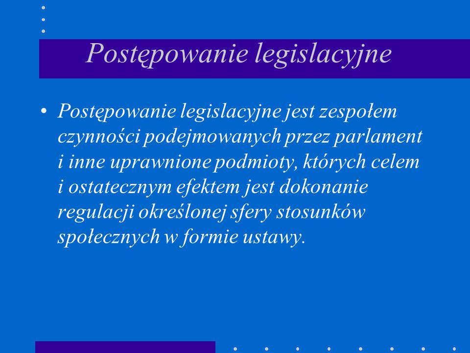 Postępowanie legislacyjne Postępowanie legislacyjne jest zespołem czynności podejmowanych przez parlament i inne uprawnione podmioty, których celem i