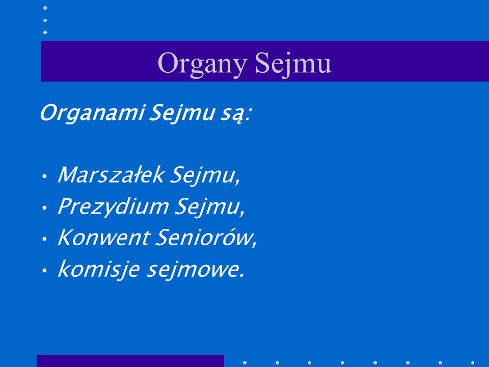 Organy Sejmu Organami Sejmu są: Marszałek Sejmu, Prezydium Sejmu, Konwent Seniorów, komisje sejmowe.
