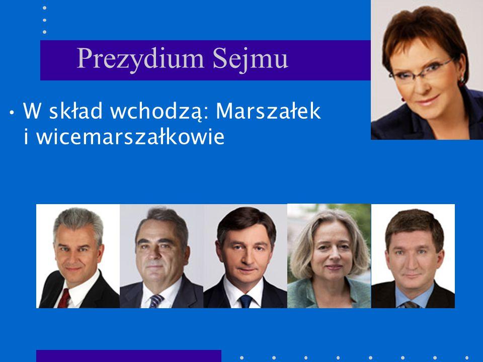 Prezydium Sejmu W skład wchodzą: Marszałek i wicemarszałkowie