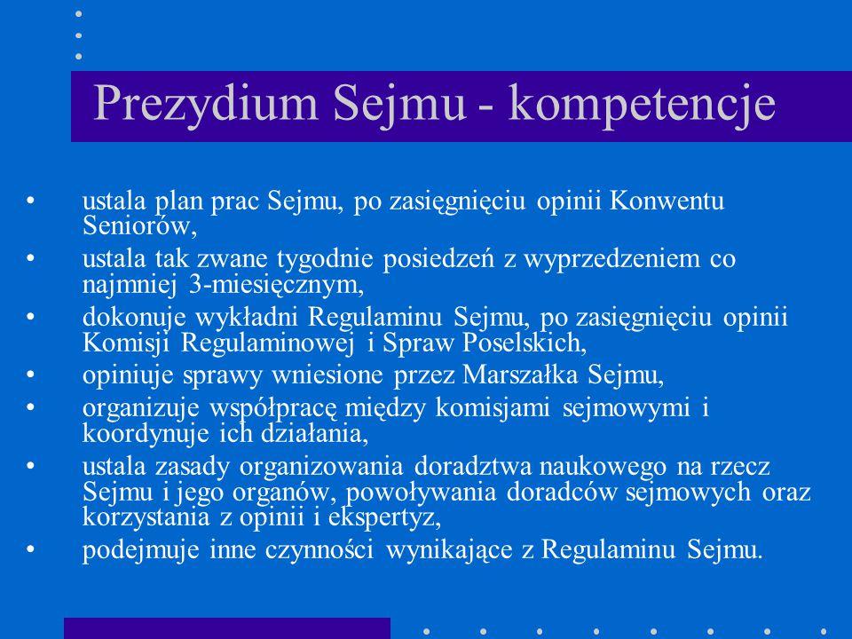 Prezydium Sejmu - kompetencje ustala plan prac Sejmu, po zasięgnięciu opinii Konwentu Seniorów, ustala tak zwane tygodnie posiedzeń z wyprzedzeniem co