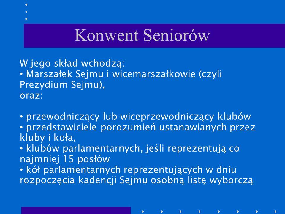 Konwent Seniorów W jego skład wchodzą: Marszałek Sejmu i wicemarszałkowie (czyli Prezydium Sejmu), oraz: przewodniczący lub wiceprzewodniczący klubów