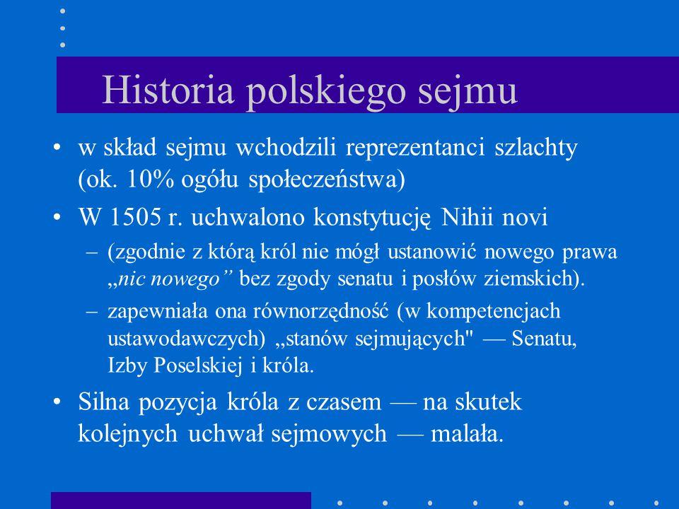 Historia polskiego sejmu w skład sejmu wchodzili reprezentanci szlachty (ok. 10% ogółu społeczeństwa) W 1505 r. uchwalono konstytucję Nihii novi –(zgo