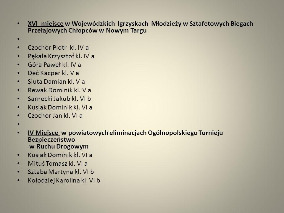 XVI miejsce w Wojewódzkich Igrzyskach Młodzieży w Sztafetowych Biegach Przełajowych Chłopców w Nowym Targu Czochór Piotr kl. IV a Pękala Krzysztof kl.