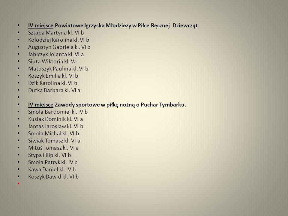 IV miejsce Powiatowe Igrzyska Młodzieży w Piłce Ręcznej Dziewcząt Sztaba Martyna kl. VI b Kołodziej Karolina kl. VI b Augustyn Gabriela kl. VI b Jabłc