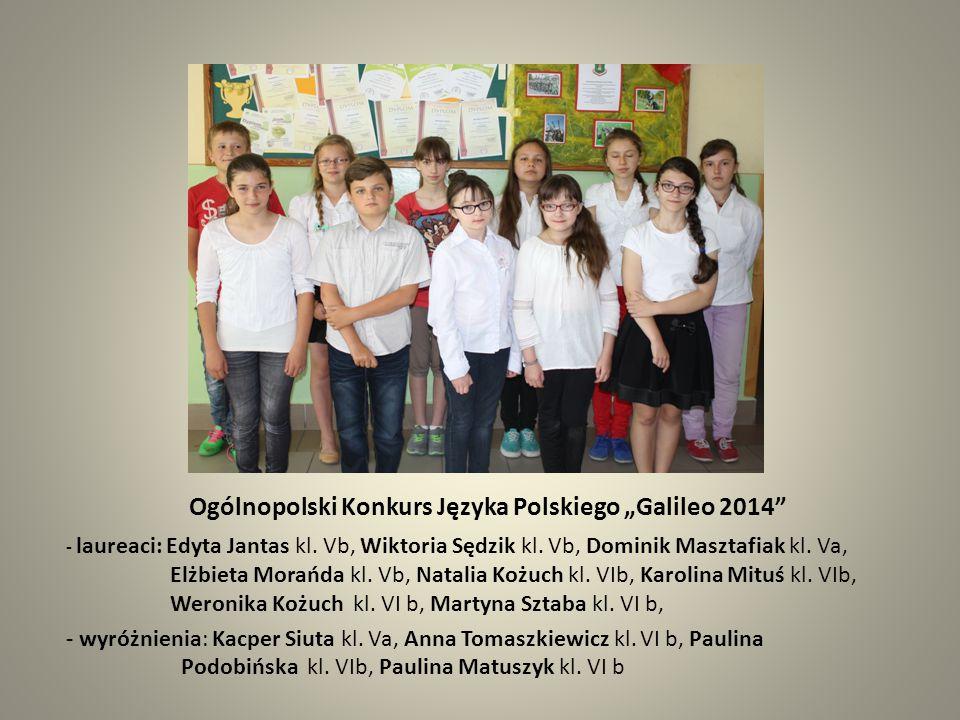 """Ogólnopolski Konkurs Języka Polskiego """" Olimpus 2014 -laureaci: Edyta Jantas kl."""