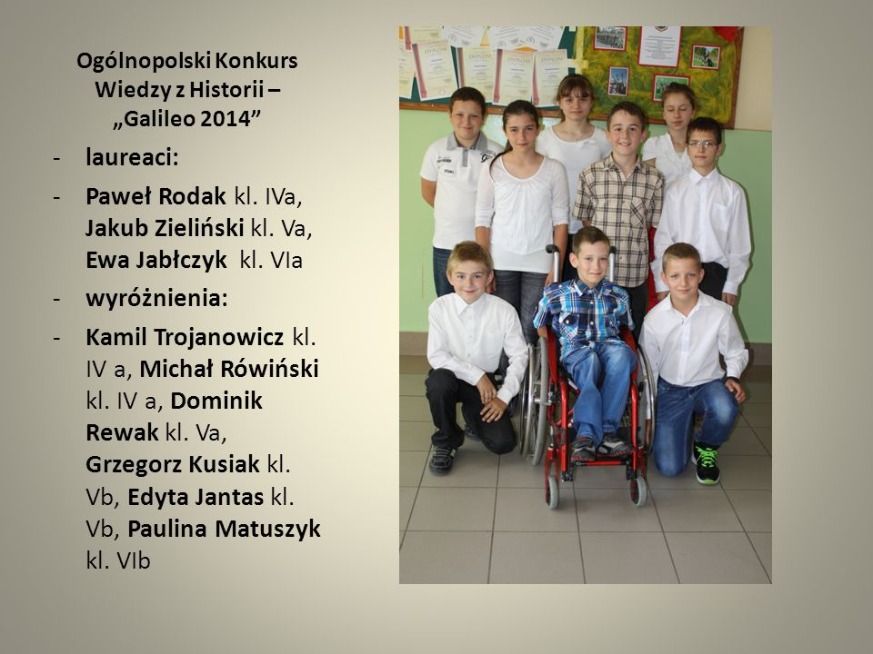 """Ogólnopolski Konkurs Wiedzy z Języka Angielskiego – """"Albus 2014 - laureaci: Wiktoria Białoń kl."""