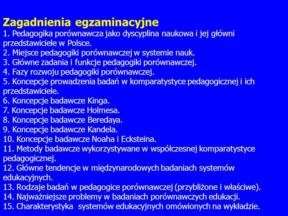 Zagadnienia egzaminacyjne 1. Pedagogika porównawcza jako dyscyplina naukowa i jej główni przedstawiciele w Polsce. 2. Miejsce pedagogiki porównawczej