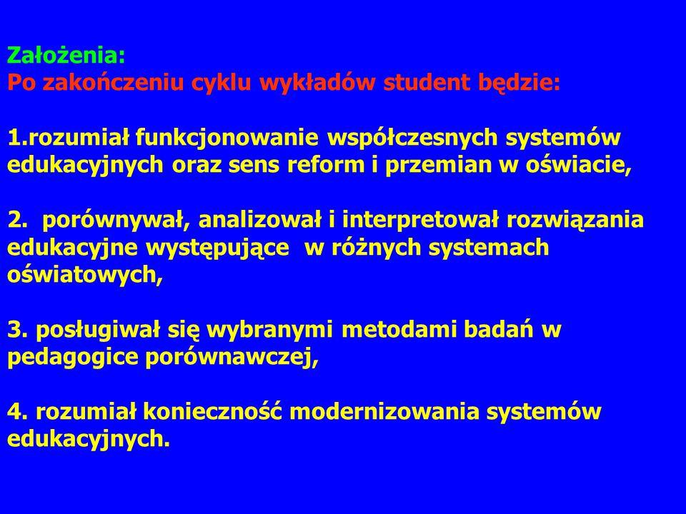 Założenia: Po zakończeniu cyklu wykładów student będzie: 1.rozumiał funkcjonowanie współczesnych systemów edukacyjnych oraz sens reform i przemian w o