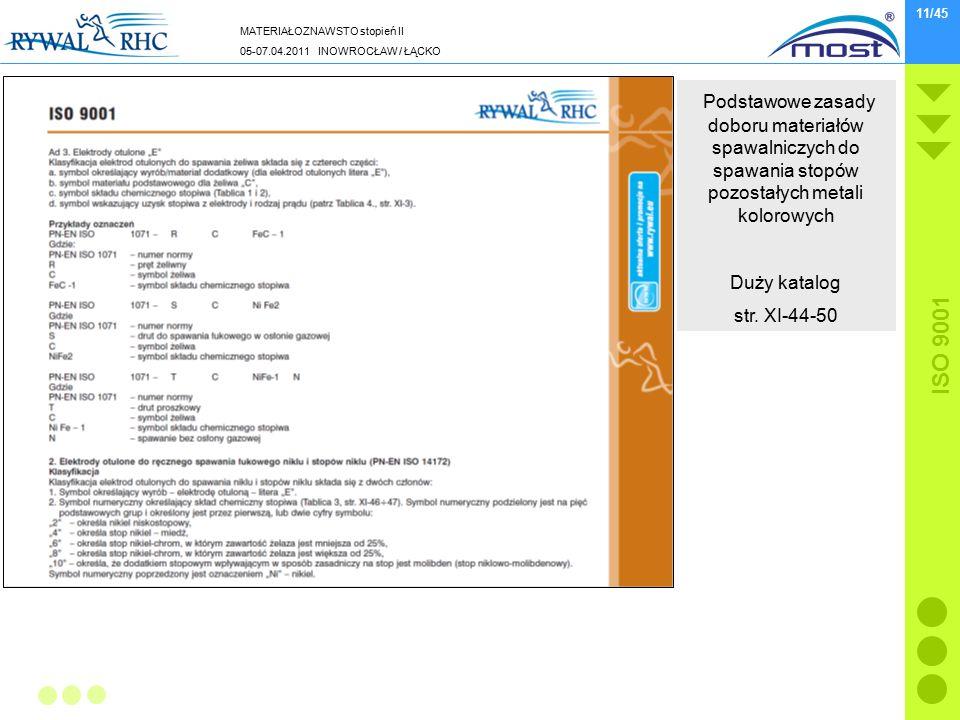 MATERIAŁOZNAWSTO stopień II 05-07.04.2011 INOWROCŁAW / ŁĄCKO ISO 9001 11/45 Podstawowe zasady doboru materiałów spawalniczych do spawania stopów pozostałych metali kolorowych Duży katalog str.