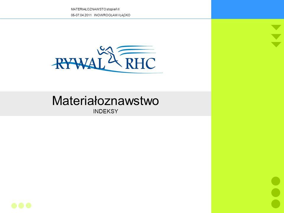 MATERIAŁOZNAWSTO stopień II 05-07.04.2011 INOWROCŁAW / ŁĄCKO ISO 9001 24/45 Materiałoznawstwo INDEKSY