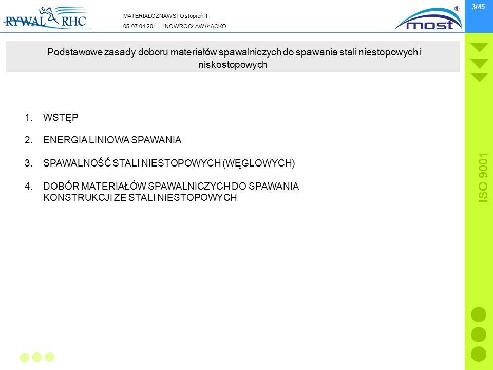 MATERIAŁOZNAWSTO stopień II 05-07.04.2011 INOWROCŁAW / ŁĄCKO ISO 9001 3/45 Podstawowe zasady doboru materiałów spawalniczych do spawania stali niestopowych i niskostopowych 1.WSTĘP 2.