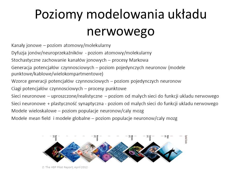 Poziomy modelowania układu nerwowego Kanały jonowe – poziom atomowy/molekularny Dyfuzja jonów/neuroprzekaźników - poziom atomowy/molekularny Stochasty