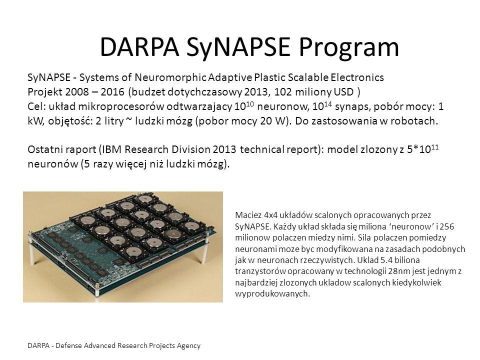 DARPA SyNAPSE Program SyNAPSE - Systems of Neuromorphic Adaptive Plastic Scalable Electronics Projekt 2008 – 2016 (budzet dotychczasowy 2013, 102 mili